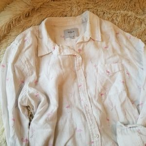 Rails Charli flamingo white button down shirt med